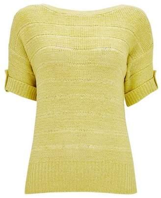 Wallis Lemon Tapered Short Sleeve Jumper