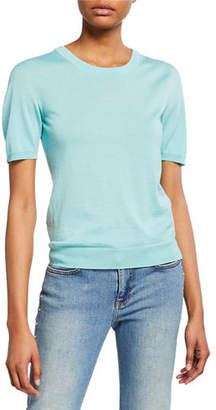 Escada Short-Sleeve Jewel Neck Pullover