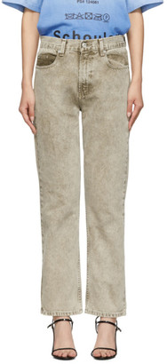 Proenza Schouler Taupe Crop Straight Jeans