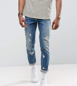 Asos DESIGN TALL Slim Jeans In Vintage Mid Wash With Rips