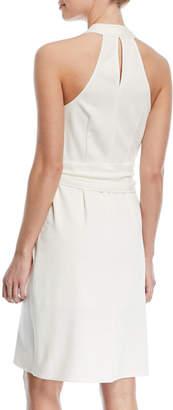 Halston Belted Knee-Length Wrap Dress