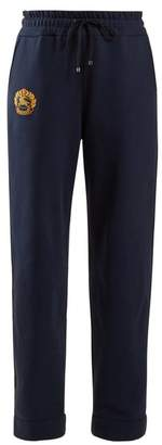 Burberry Unisex Logo Embroidered Track Pants - Womens - Blue