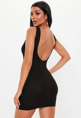 Missguided Petite Black Scoop Back Mini Dress
