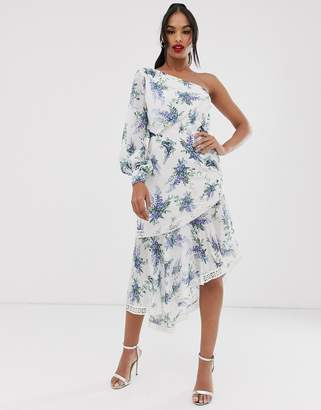 Asos Design DESIGN one shoulder midi dress in trailing floral print and lace inserts