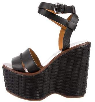 Ralph Lauren Leather Ankle Strap Wedges
