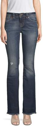 Miss Me Women's Distressed Flared Jeans - Dark Blue, Size 26 (2-4)