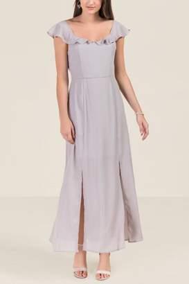 Grace Flutter Sleeve Bridesmaid Dress - Gray