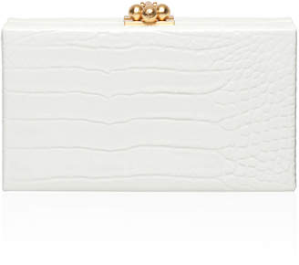 Edie Parker Jean Box Clutch in Croc Embossed Patent