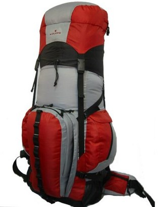 K-Cliffs Expandable Hiking Backpack Large 6000ci-8000ci Camping Backpack Scout Daypack Aluminum Frame Sport Pack Outdoor Big Travel Bag, Red Grey