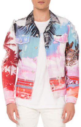 Balmain Men's Graphic-Print Canvas Jacket