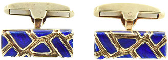 One Kings Lane Vintage Geometric Blue Enamel & Gold Cufflinks - Owl's Roost Antiques