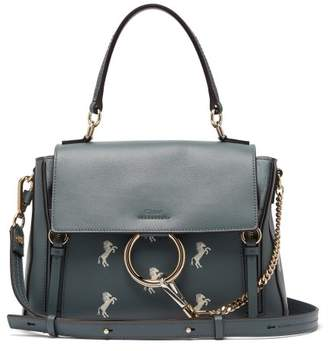Chloé Faye Day Little Horses Leather Shoulder Bag - Womens - Blue Multi