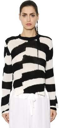 Ann Demeulemeester Striped Cotton Knit Sweater