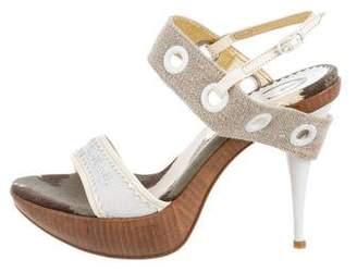 Just Cavalli Woven Platform Sandals