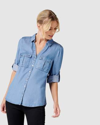 Forever New Lola Denim Utility Roll Sleeve Shirt