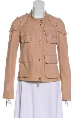 Rebecca Taylor Leather Ruffle-Accented Jacket