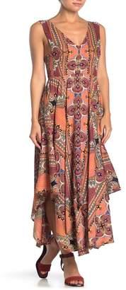 Angie V-Neck Printed Handkerchief Hem Maxi Dress
