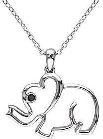 Black Diamond QVC Accent Elephant Pendant w/ Chain,