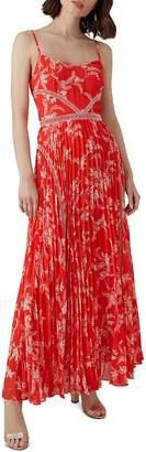 Karen Millen Pleated Floral Maxi Dress