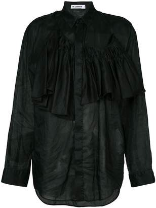 Jil Sander asymmetric ruffled shirt