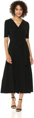Chaus Women's Lisa Elbow Sleeve Tie Waist V-Neck Dress