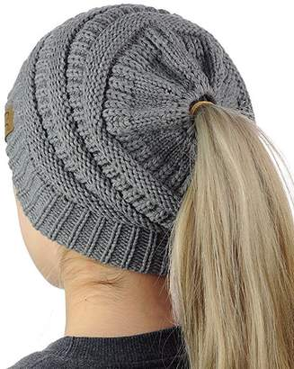D.E.P.T FIST BUMP Womens Beanie Tail Ponytail Winter Warm Stretch Cable Messy High Bun Knit Hat