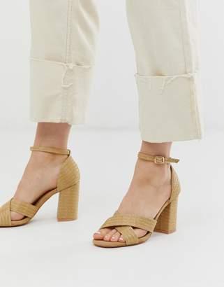 Glamorous natural straw block heeled sandals