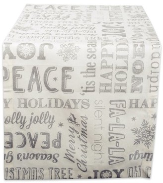 """DII 100% Cotton, Machine Washable, Printed Metallic Table Runner For Parties, Christmas & Holidays - 14x108"""", Sliver Christmas Collage"""