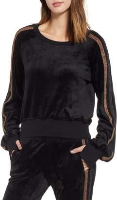 Pam & Gela Crop Stripe Sleeve Sweatshirt