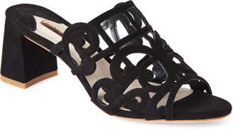 Sophia Webster Black Birdie Laser-Cut Block Heel Mules