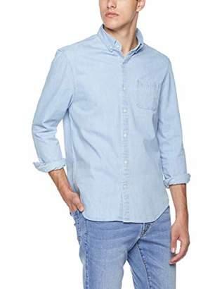Trimthread Men's Sportswear Spread Collar Button-Front Slim 1 Pocket Chambray Denim Work Shirt (