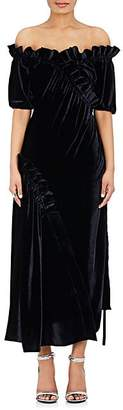 Cédric Charlier WOMEN'S VELVET OFF-THE-SHOULDER GOWN - 0510 - NAVY SIZE 42 IT