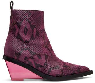 Maison Margiela Pink Faux-Python Wedge Boots