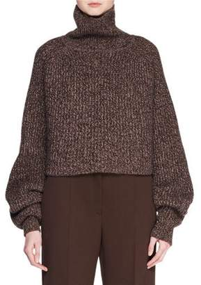 The Row Dickie Turtleneck Long-Sleeve Melange Cashmere Pullover Sweater