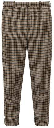 Neil Barrett Checked Metal Clip Wool Blend Trousers - Mens - Black