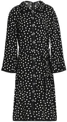 Dolce & Gabbana Embellished Polka-Dot Crepe Shirt Dress