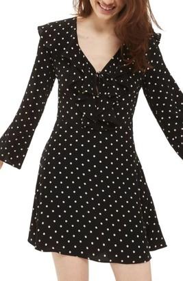 Women's Topshop Polka Dot Ruffle Minidress $90 thestylecure.com