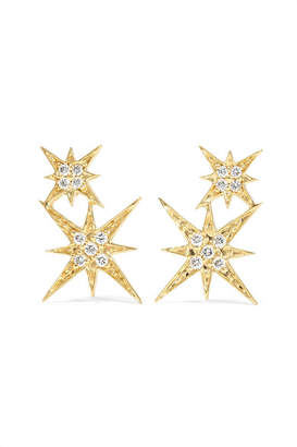 Sydney Evan Double Starburst 14-karat Gold Diamond Earrings