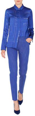 Akris Button-Front Long-Sleeve Blueprint Silk Satin Blouse