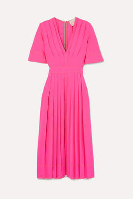 Roksanda Pleated Silk-crepe Midi Dress - Pink