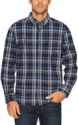 Nautica Men's Long Sleeve Cotton Poplin Plaid Wrinkle Resistant Shirt