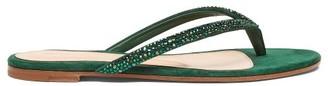 Gianvito Rossi Crystal Trim Suede Flip Flops - Womens - Dark Green