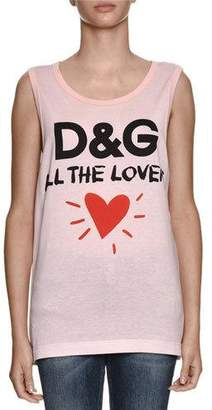 Dolce & Gabbana All The Lovers Scoop-Neck Sleeveless Cotton Jersey Top