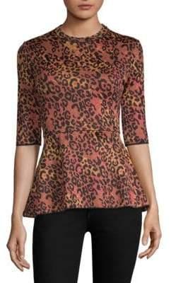 M Missoni Maglia Leopard Print Peplum Top