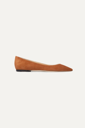 Jimmy Choo Romy Suede Point-toe Flats - Tan