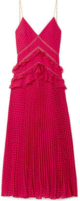 Self-Portrait Chain-trimmed Swiss-dot Chiffon Maxi Dress - Fuchsia