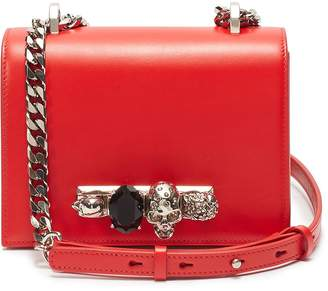 Alexander McQueen 'The Small Jewelled Satchel' in leather with Swarovski crystal knuckle