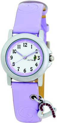 Cactus Girl's Quartz Analogue Watch CAC-52-L09 with Purple Heart 11 Stones PU Strap