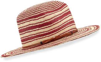 Neiman Marcus Yestadt Millinery Somba Patterned Straw Fedora Hat