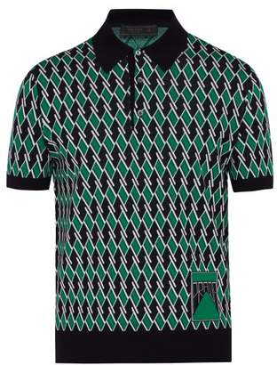 Prada Diamond Jacquard Virgin Wool Polo Shirt - Mens - Green Multi